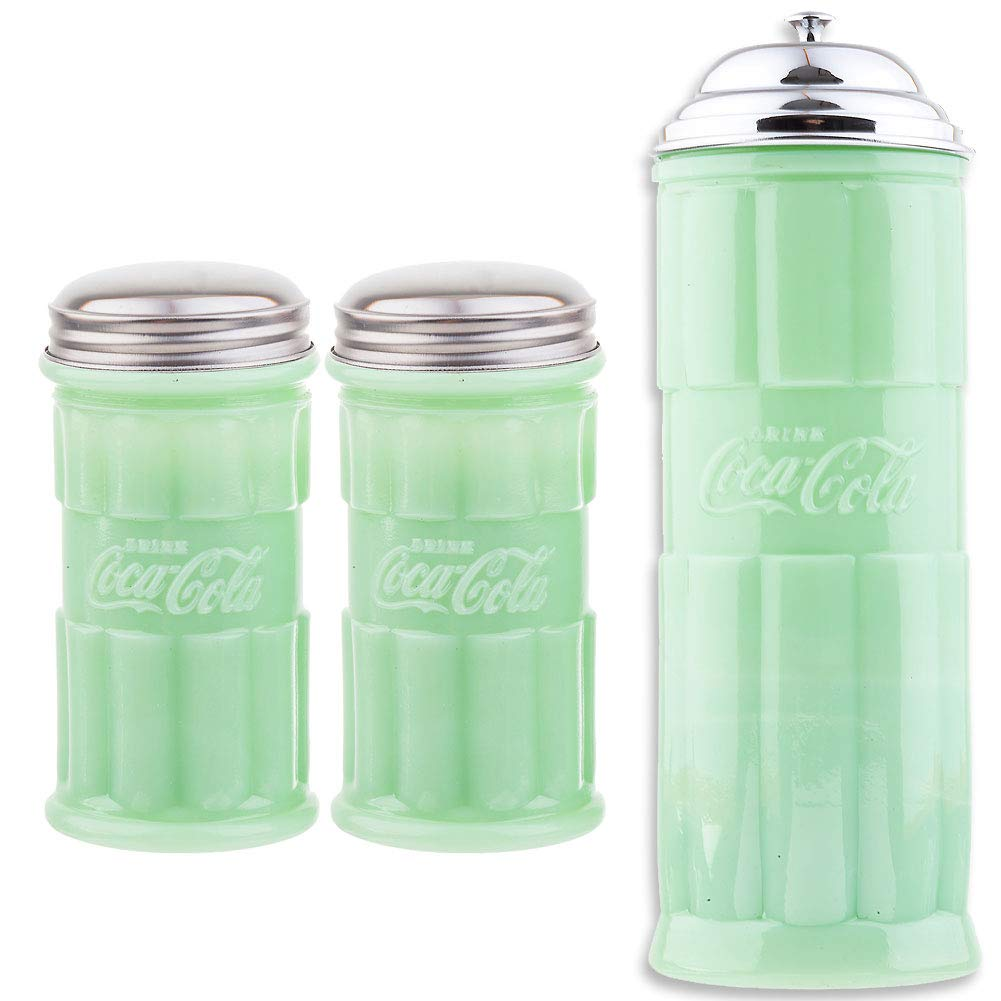 (Set) Coca-cola Jadeite Straw Jar & Salt & Pepper Shakers w/Stainless Lids by SINCE 1914 JOHNSON SMITH CO