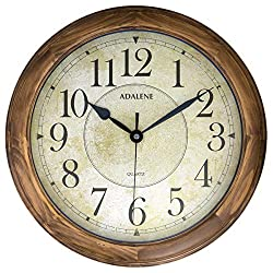 Adalene 14 Inch Large Wall Clocks for Living Room Décor - Analog Wooden Wall Clocks Battery Operated Non Ticking Decorative Wall Clock Wood - Vintage Silent Wall Clock Modern Farmhouse Wood Wall Clock