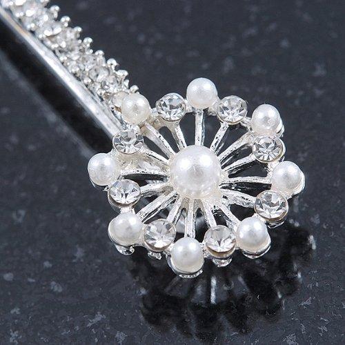 2 pinces à cheveux en plaqué rhodium Mariage/Prom cristal,fausse perle fleur filigrane