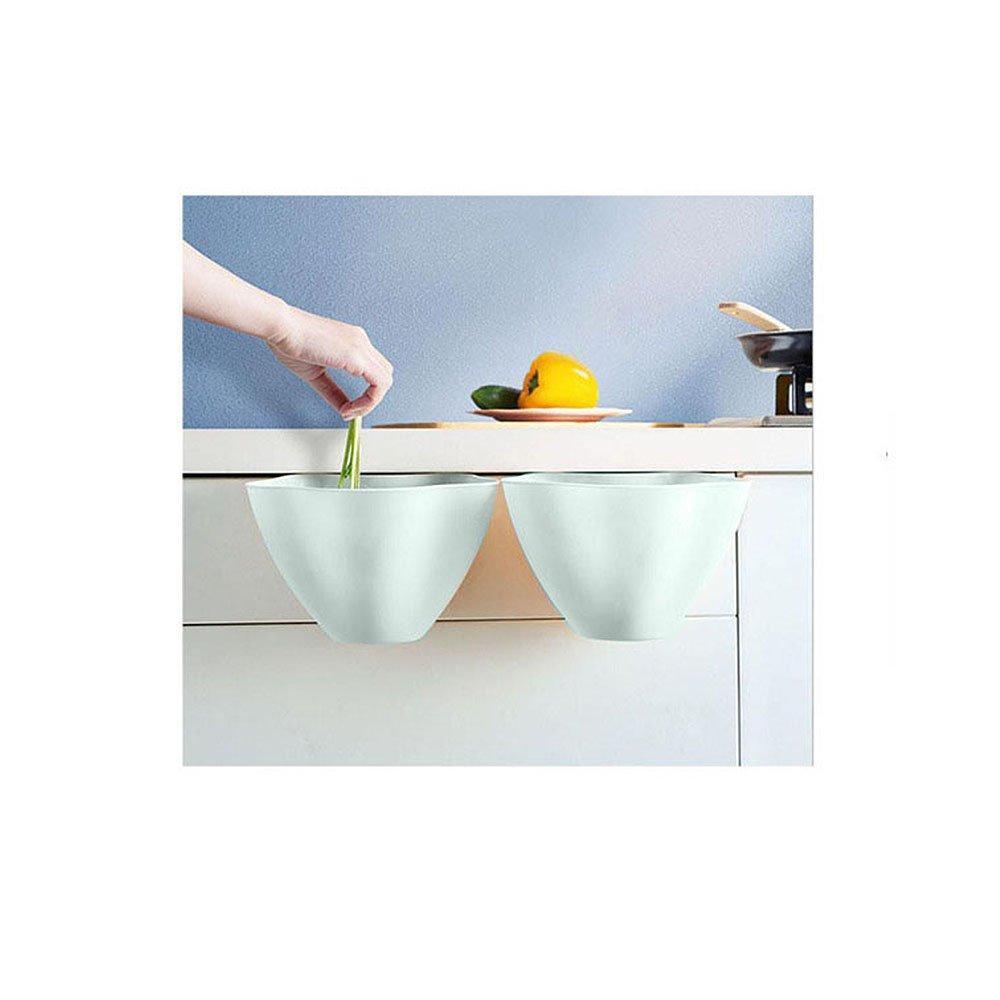 Merssavo Hanging Trash Garbage Bag Holder for Kitchen Cabinetry Blue