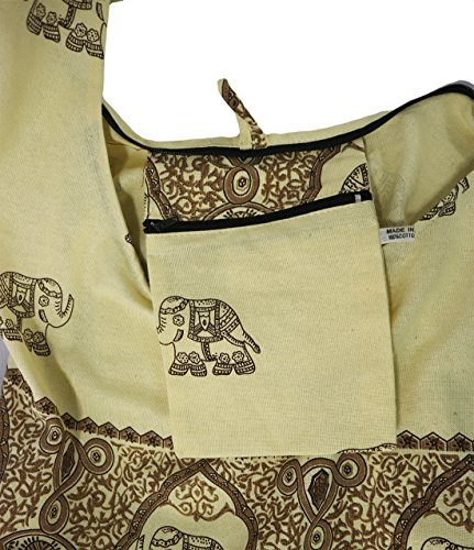 Lovely Creations's Hippie Boho New Elephant Crossbody Bohemian Gypsy Sling Shoulder Large Size (MM Cream) by Lovely Creations (Image #2)
