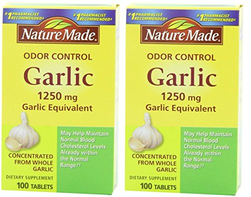 Nature Made Odor Control Garlic, 1250mg -- 2 Boxes each of 100 Tablets ()