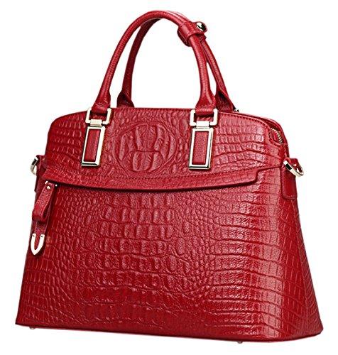 SAIERLONG Nuovo Donna Vino rosso Deluxe Genuine Leather Borse Tracolle Vino rosso