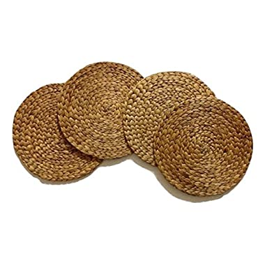Dinning Table Mats Round Placemats Woven Set 4pc Water Hyacinth Natural Outdoor Patio Dinner Handmade Party Holiday