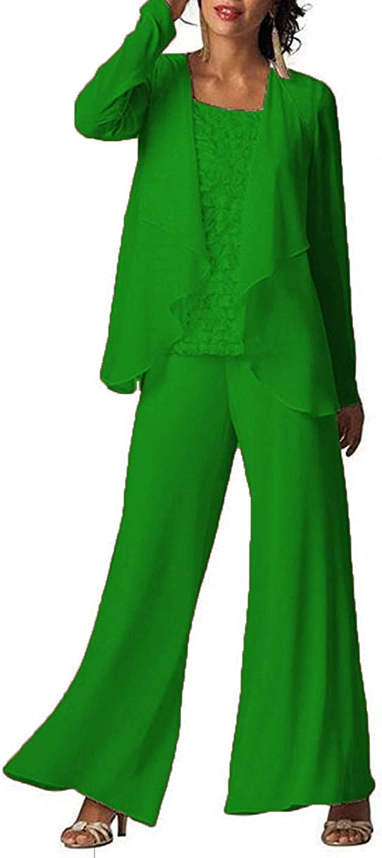 Ysmo Womens Chiffon Pant Suits 3 Pieces Set Mother of The Bride Wedding Dress