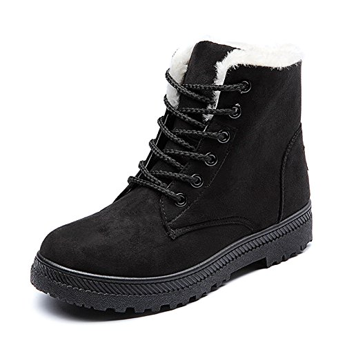 Ceyue Black Suede Leather Snow Boots High Top Ankle Boots Winter Shoes Size 7.5 for Women