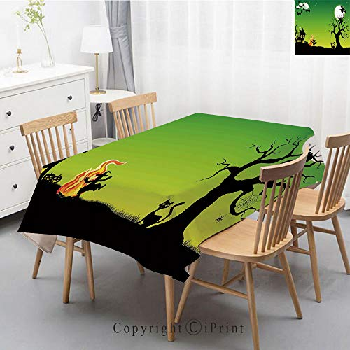 Print Series Rectangle Tablecloth Cotton and Linen Dust proof Absorption Table Cover for Photography Background Dining,55x87 Inch,Halloween Decorations,Witch Dancing with Fire at Halloween Ancient -