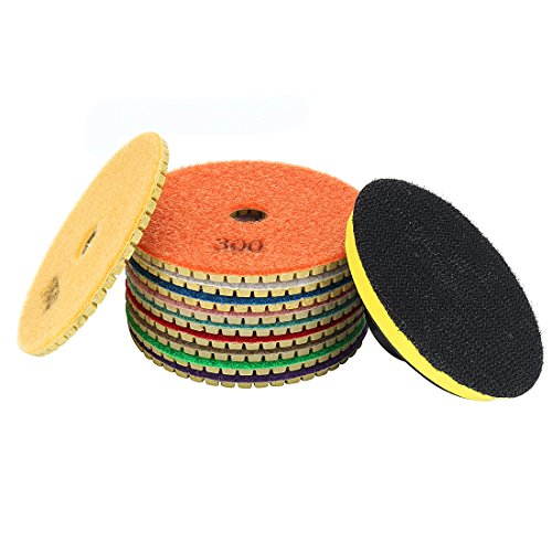 uxcell 4-inch Diamond Wet Polishing Sanding Grinding Pads Disc 10 in 1 w Rubber Backer Pad