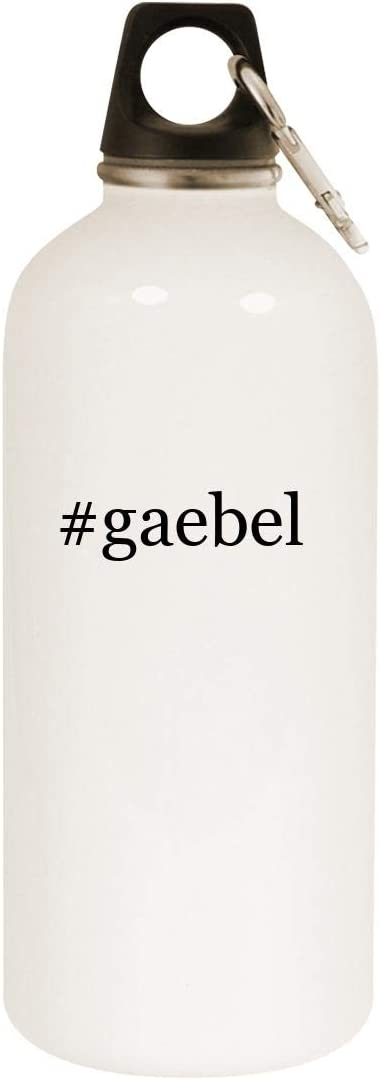 #gaebel - 20oz Hashtag Stainless Steel White Water Bottle with Carabiner, White