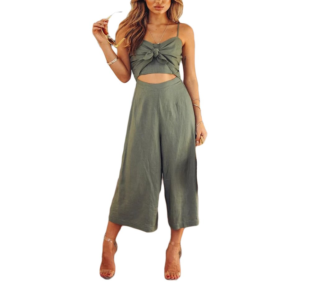 HAOAN Womens Spaghetti Strap Jumpsuits High Waist Hollow Wide Leg Romper Outfits