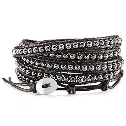 MOWOM Alloy Genuine Leather Bracelet Bangle Cuff Rope Simulated Hematite Bead 5 Wrap Adjustable