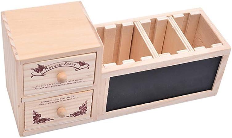 Qinghengyong Multifuncional de Madera Organizador de la Oficina con cajón Madera cajón Multifuncional del lápiz de la Pizarra de Noticias Foro Penholder: Amazon.es: Hogar