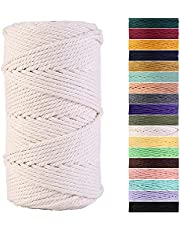 Macrame Cord 3mm x 109Yards Natural Cotton Macrame Rope Cotton Cord for Handmade Macrame Supplies, Wall Hanging, Plant Hangers, Crafts, Knitting, Decorative Projects