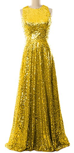 MACloth Women A Line Sequin Long Bridesmaid Dress Evening Formal Party Gown Gold