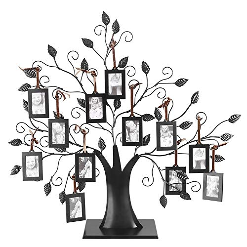 Zerodis 6 Hanging/12 Hanging Photos Display Tree Family Tree Photo Frame with Hanging Tree Design Decorative Table for Photo Picture Tree Display(12pcs(L))