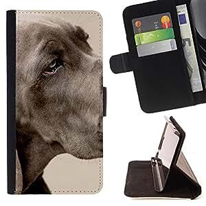 KingStore / Leather Etui en cuir / LG G3 / Gran danés Gran Grey Dog Pet