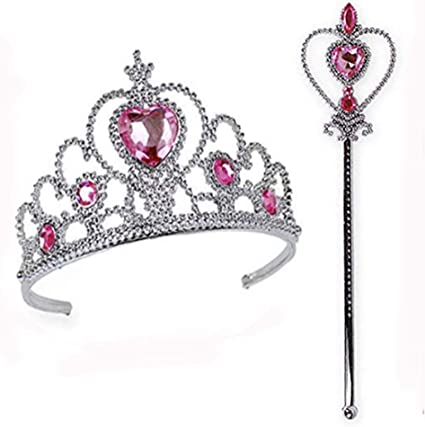 A 7 Pieces Princess Crown Set Princess Tiara Plastic Crown Princess Tiara Set Birthday Gifts Little Girls Birthday Party Favor Dress up Party Accessories for Kids