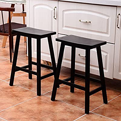Goujxcy Wood Bar Stool Set of 2, Solid Wood Saddle-Seat Kitchen Counter Stool with Foot Pad, 24 Inch, Patio Bar Chair Set, Black: Garden & Outdoor
