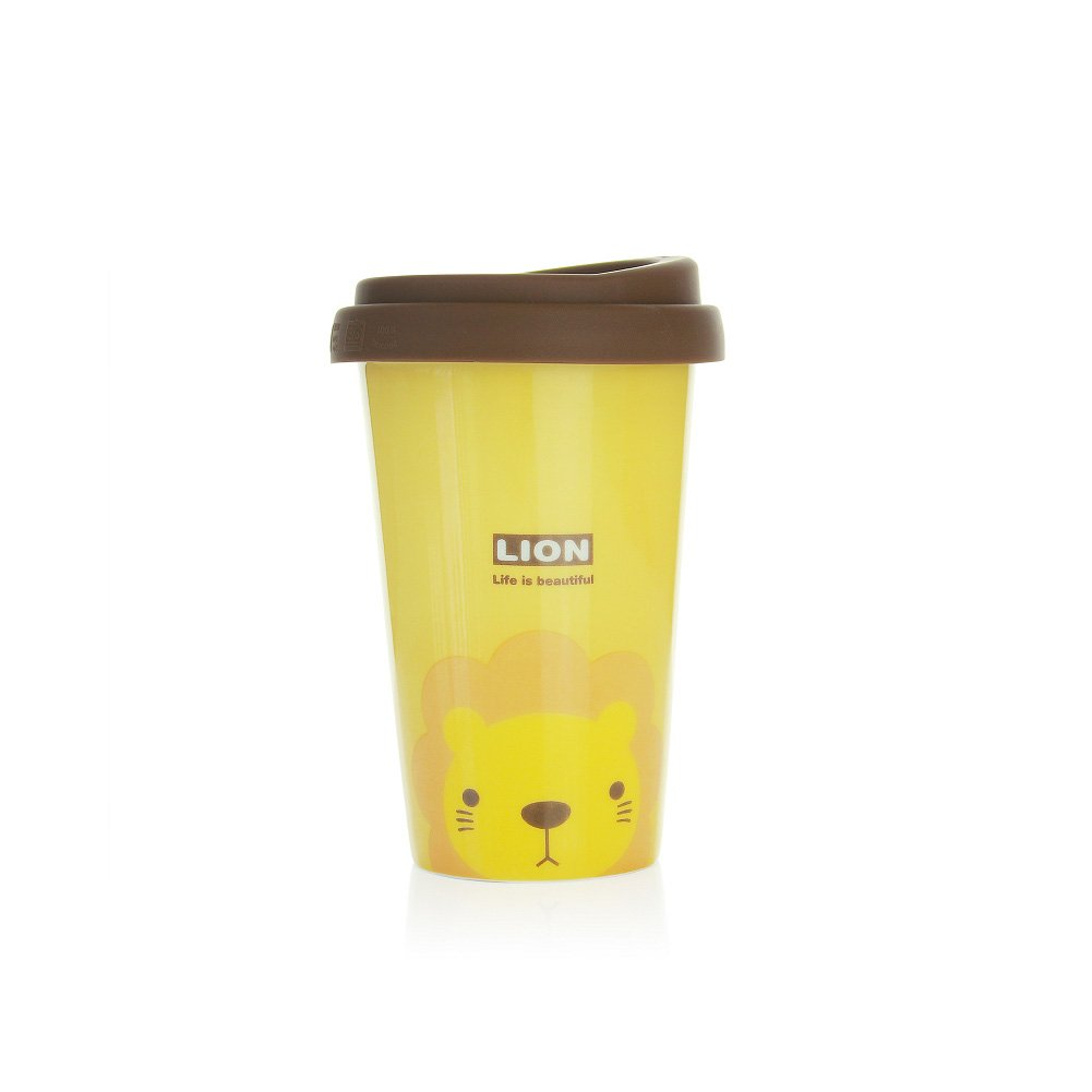 UPSTYLE Cute Coffee Mug Lovely Ceramic Travel Mug Tumbler with Silicone Lid To Go Tea Cups for Lion Lovers Reusable Animal Mugs Eco Bamboo Cup,13.5oz (Yellow Lion)