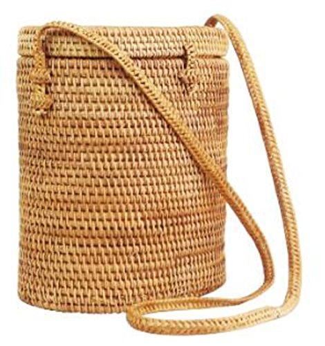 48b419b082 Lush Handmade Round Cylinder Handwoven Rattan Straw Wicker Basket w   Removable Tribal Printed Cinch Liner Shoulder Bag