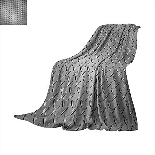 xtra Long Blanket Wire Fence Design Netting Display with Diamond Plate Effects Chrome Kitsch Motif Print Lightweight Extra Big 70
