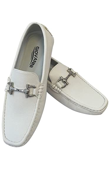86c025870bf Men s Giovanni Loafer Dress Shoes Italian Style Slip On Solid White with  White Stitching 9511 (