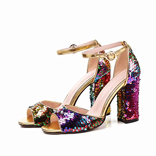 Carolbar Women's Bling Bling Sequins Block High Heel Buckle Dress Sandals Multicolor xI0P5suWD2
