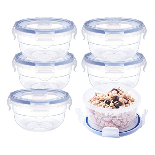 LEXINGWARE 10.1oz Food Storage Containers Bowls (6Pack), Airtight Snap Locking Lids, BPA-Free Plastic Meal Prep Containers, Microwave Freezer Safe Lunch Boxes