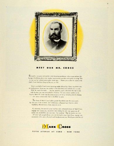1943 Ad Portrait Mark W. Cross Saddlery Leather Luggage WWII War Production - Original Print Ad Saddlery Print