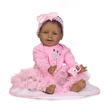 Nicery ID55C012 - Muñeca de bebé Reborn India Africana de Piel Negra 55 cm, Suave simulación de Silicona, Vinilo, magnético, Boca Realista, Juguete ...