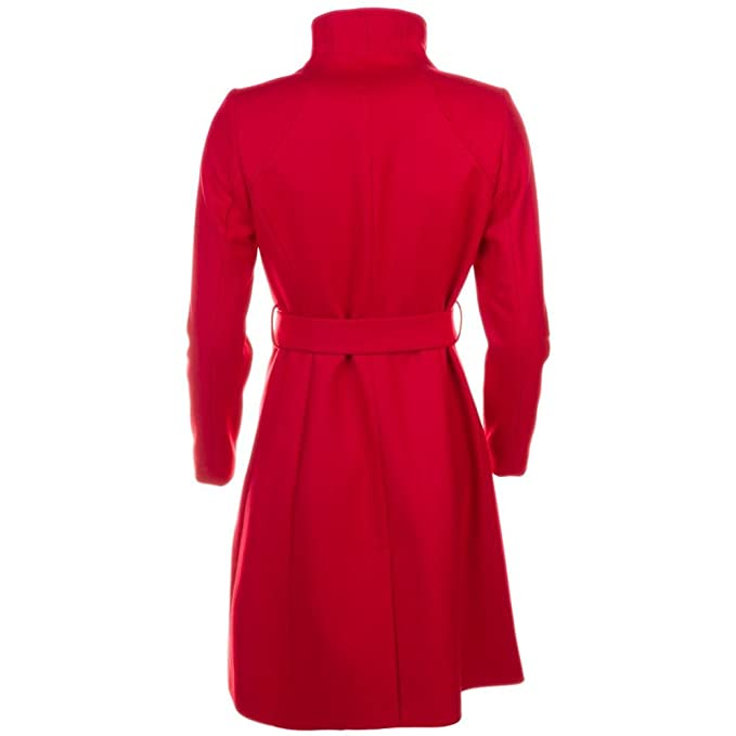 24b8056a0952e6 Ted Baker Aurore Womens Red Long Wrap Collar Coat Size 4 UK 14   Amazon.co.uk  Clothing