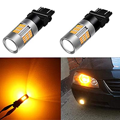 Alla Lighting Super Bright LED 3157 Bulb High Power 4014-SMD 4157 3457 3156 3057 3157 LED Bulb 3457A 4157NA 3157A Amber Yellow LED Turn Signal Blinker Light Bulbs Lamp (Set of 2): Automotive