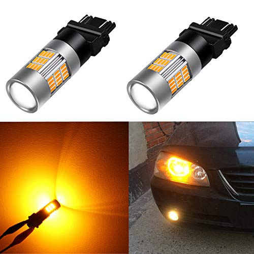 (Alla Lighting Super Bright LED 3157 Bulb High Power 4014-SMD 4157 3457 3156 3057 3157 LED Bulb 3457A 4157NA 3157A Amber Yellow LED Turn Signal Blinker Light Bulbs Lamp (Set)