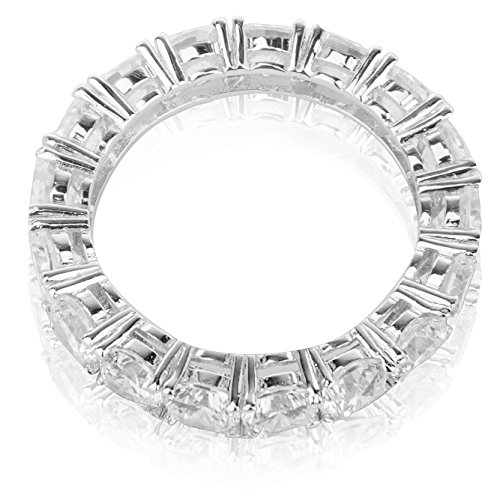 Prong Shared (Quality Jewels Sterling Silver Cubic Zirconia Extravagant Shared Prong Eternity Wedding Band 3 MM (6))