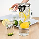 bobuCuisine's Elegant Chill Water Pitcher - Stunning Scandinavian Design - Premier Quality Borosilicate Glass Pitcher - Stainless Steel Lid - 1300ml/44oz