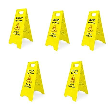 Amazon.com: Señal de seguridad para el suelo de 2 caras, 5 ...