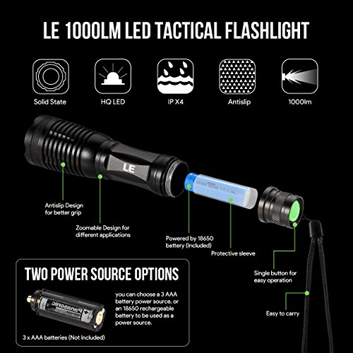 LE LED Rechargeable Tactical Flashlights, Zoomable, Focus Adjustable, Water Resistant, Outdoor Camping Touch