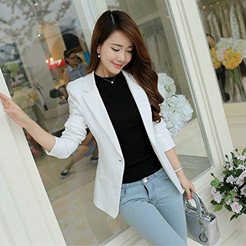 Donna Solidi Camicia Da Manica Tailleur Primaverile Fit Ufficio Lunga Coat Fashion Donne Slim Bavero Autunno Giacca Colori Blazer Bianca Casuale Eleganti Battercake Business Rxtw00