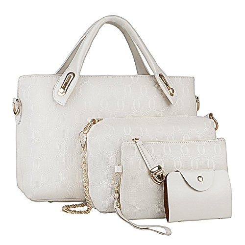Vincico White Handbags for Women Shoulder Bags Tote Purse Ladies Bag 4 Piece Set Faux Leather by Vincico