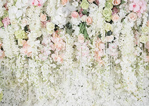 Botong 7x5ft Sweet Simple White Curtain Flower Theme Backdrops Flower Bridal Shower Photo Background for Wedding Decoration Birthday Party Carnival Party Girls Birtday Party Photo Booth