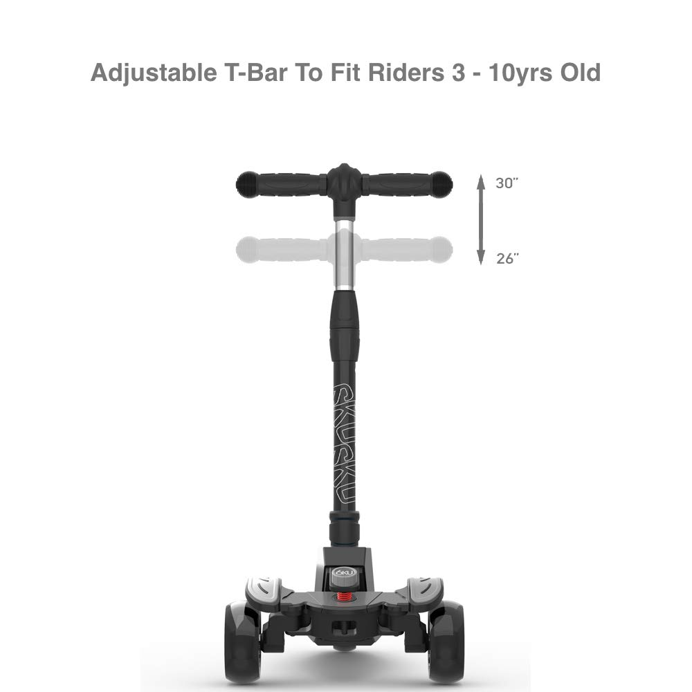 6KU Kids Kick Scooter with Adjustable Height, Lean to Steer, Flashing Wheels for Children 3-8 Years Old Black by 6KU (Image #5)