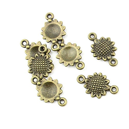 (10 pieces Anti-Brass Fashion Jewelry Making Charms 1687 Sunflower Connector Wholesale Supplies Pendant Craft DIY Vintage Alloys Necklace Bulk Supply Findings Loose)