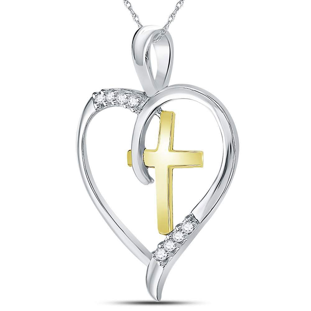 Sterling Silver Womens Round Diamond Heart /& Cross Two-tone Pendant 1//20 Cttw