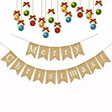 Jute Merry Christmas Burlap Banner Fireplace Mantel Garland Decoration