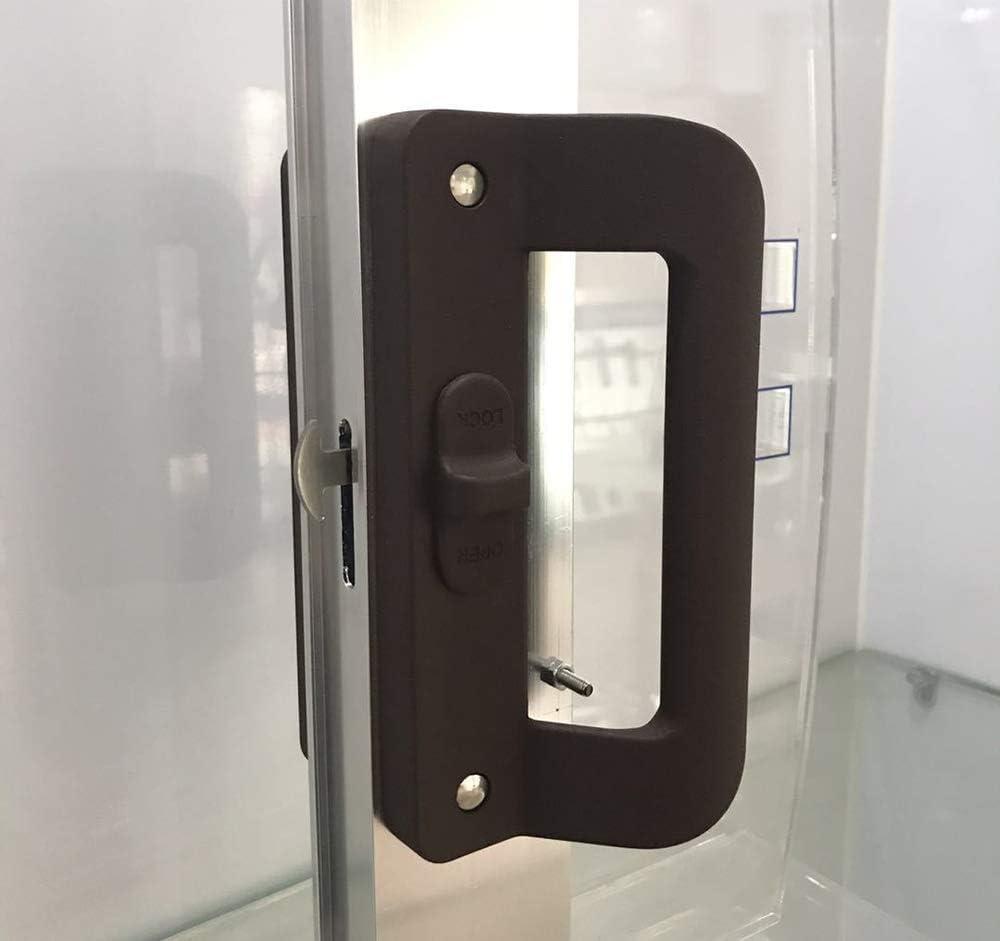 Puerta Cerradura,Sliding Door Pull Lock,Pomo Puerta, Manija de la mortaja Tipo de puerta de corredera de cristal Set Patio puerta con llave, manija de la puerta deslizante con cerradura Negro: Amazon.es: Bricolaje