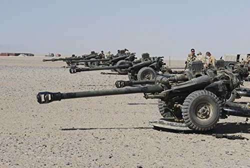 Posterazzi PSTACH100202M Howitzer 105mm light guns are lined up at Camp Bastion Afghanistan Poster Print 17 x 11