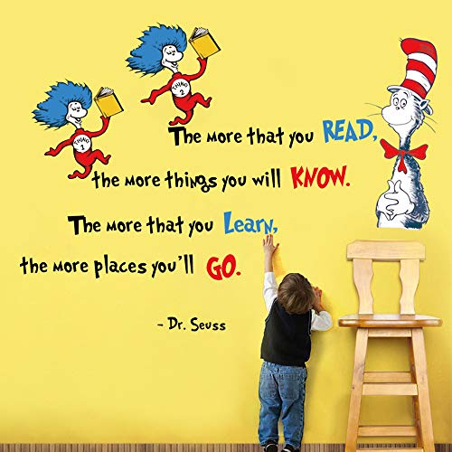 decalmile Wall Decals Quotes Dr Seuss The More That You Read The More You Know Kids Wall Stickers Baby Nursery Childrens Bedroom Classroom Wall Decor]()