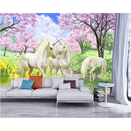 Meaosy Papel Tapiz Personalizado Mural Sueño Sakura Unicornio Papel Tapiz Fotográfico Habitación Para Niños Decoración...