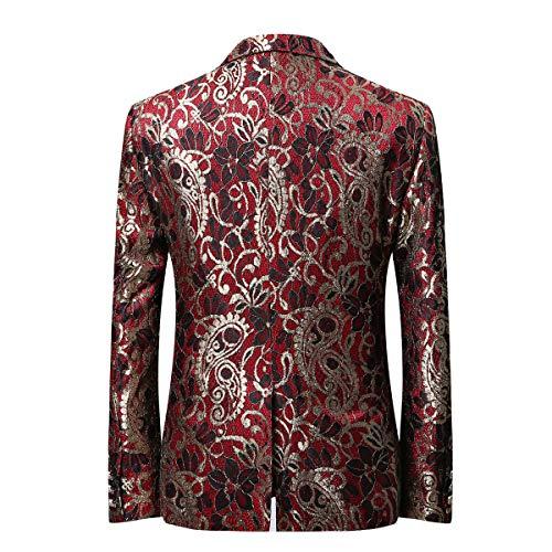 Costume Slim Sliktaa Imprimé Fit Elégant Blazer Jacket Fleurs Tuxedo Rouge Xs Mariage De Veste Fête Homme Casual Bouton 6xl Un Noël EEnxqf1