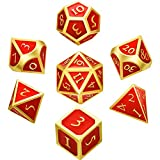 Hestya 7 Pieces Polyhedron Dice Set Multi-sided Metal Game Dice with Storage Bag(Red)